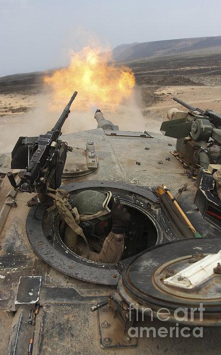 A Tank Crewman Braces Himself Print by Stocktrek Images