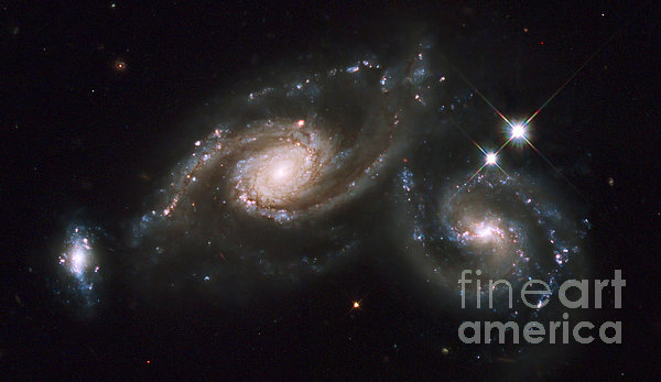 A Triplet Of Galaxies Known As Arp 274 Print by Stocktrek Images