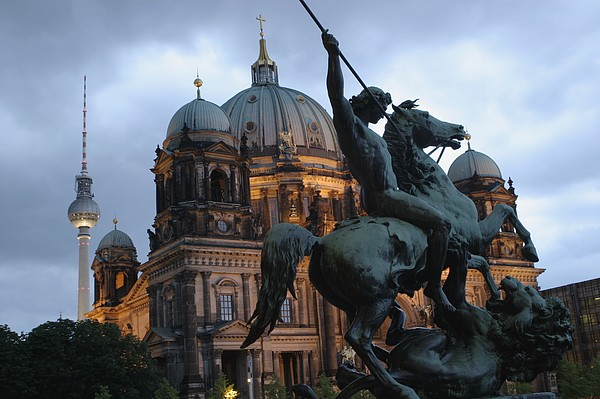 A Twilight View Of The Berlin Cathedral Print by Jim Webb