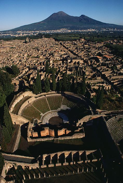 A View Over Pompeii Toward Mount Print by O. Louis Mazzatenta