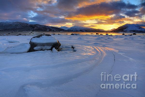 A Winter Sunset Over Tjeldsundet Print by Arild Heitmann