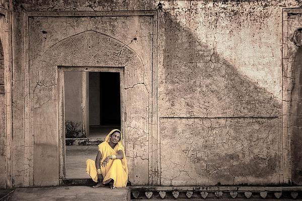 A Woman In Yellow Dress Print by Mostafa Moftah