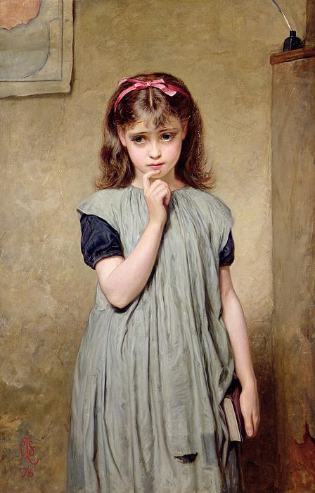 A Young Girl In The Classroom Print by Charles Sillem Lidderdale