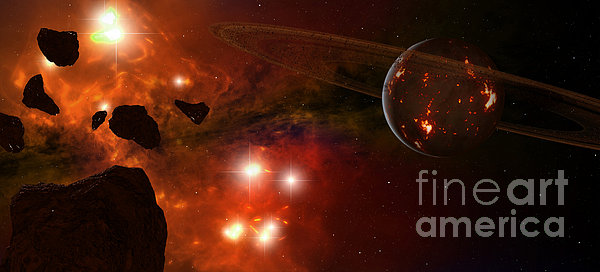 A Young Ringed Planet With Glowing Lava Print by Frieso Hoevelkamp