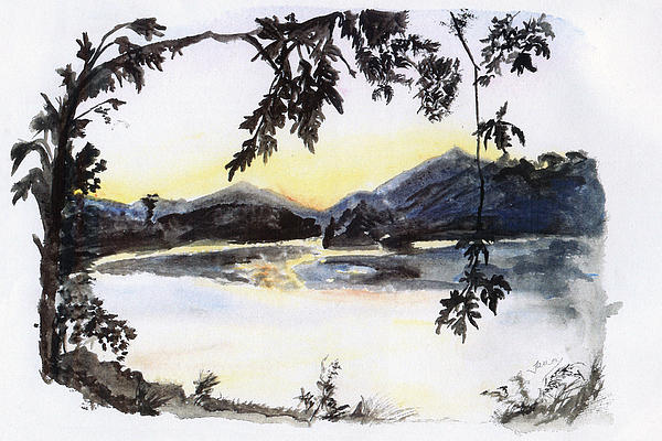 Aare Am Abend Print by Jana Goode