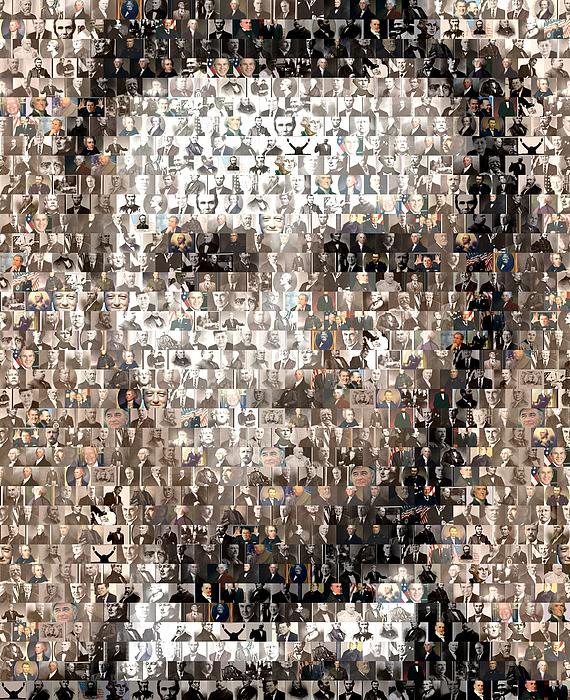 Abe Lincoln Presidents Mosaic Print by Paul Van Scott