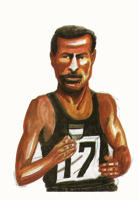 Abebe Bikila Print by Emmanuel Baliyanga