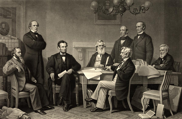 Abraham Lincoln At The First Reading Of The Emancipation Proclamation - July 22 1862 Print by International  Images