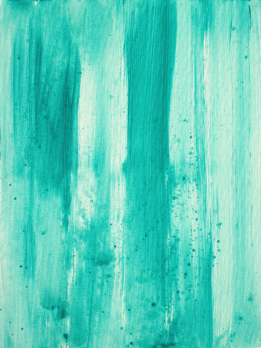 Abstract Art Original Decorative Painting Aqua Passion By Madart Print by Megan Duncanson