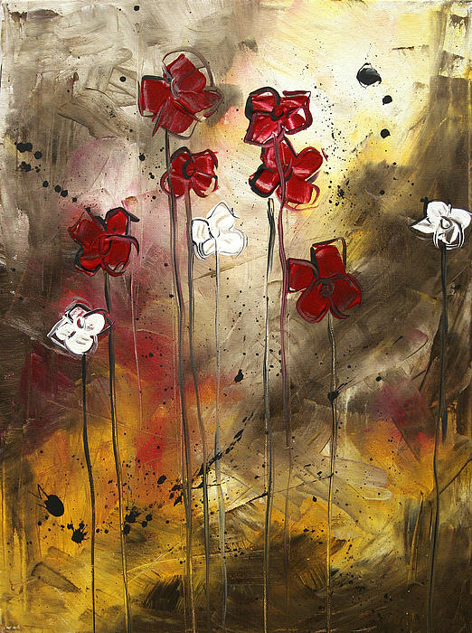 Megan Duncanson - Abstract Art Original Flower Painting FLORAL ARRANGEMENT by MADART