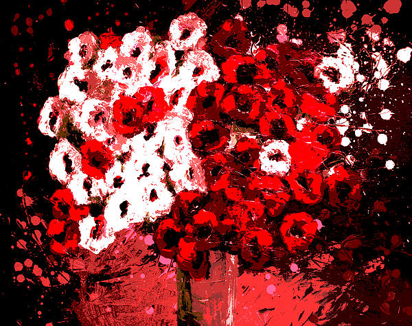 Abstract Flowers By Shawna Erback Print by Shawna Erback