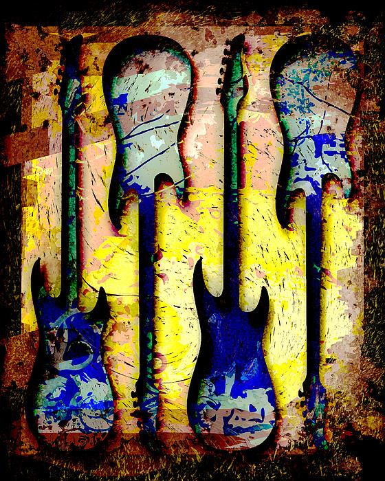 Abstract Guitars Print by David G Paul