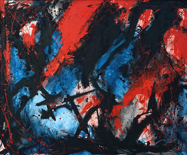 Abstract In Red Blue Black Print by Joe Michelli