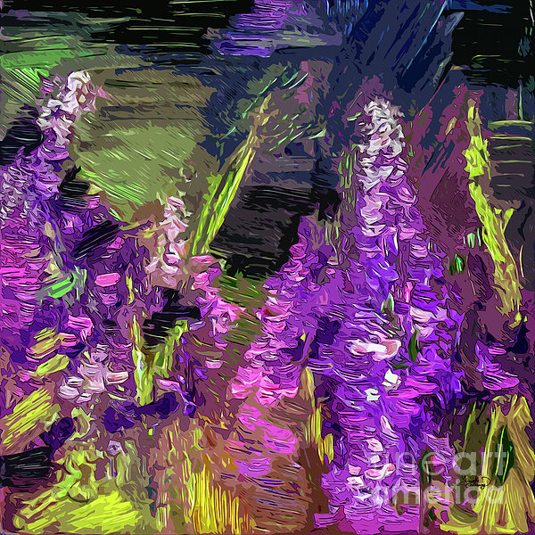 Abstract Lupines Decorative Art By Ginette Print by Ginette Callaway