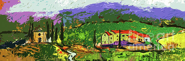 Ginette Fine Art LLC Ginette Callaway - Abstract Panoramic Tuscan Landsape
