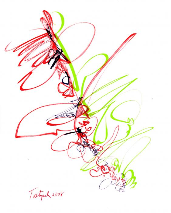 Abstract Pen Drawing Seventy Print by Lynne Taetzsch