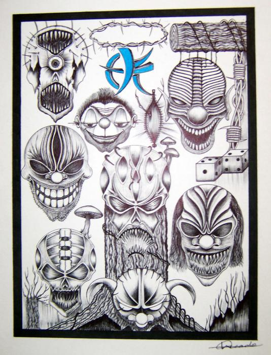 Abstract Skulls Killer Clowns Barb Wire by Woulstain Creado