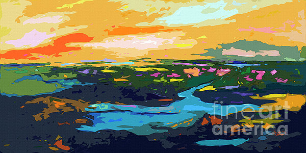 Abstract Sunset Landscape Waterways Print by Ginette Callaway