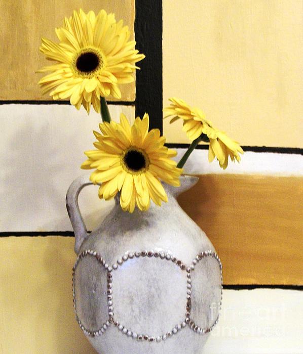Abstract Yellow Daisies Print by Marsha Heiken