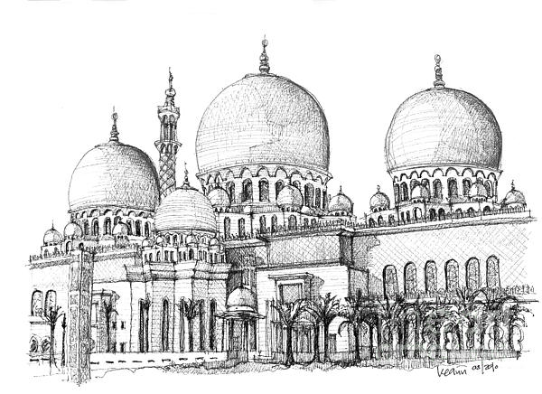 Abu Dhabi Masjid In Ink  Print by Lee-Ann Adendorff