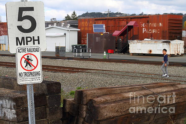 Active Railroad . No Tresspassing Print by Wingsdomain Art and Photography