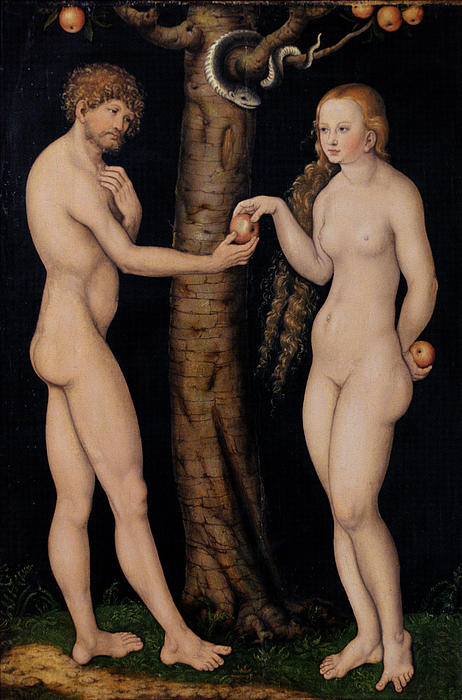 Adam And Eve In The Garden Of Eden Print by The Elder Lucas Cranach