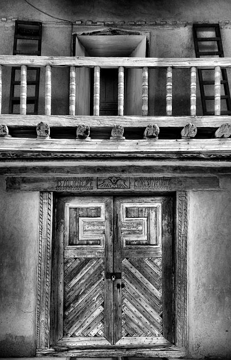 Adobe Church Door And Balcony Print by Steven Ainsworth