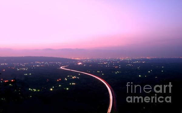 Aerial View Of Highway At Dusk Print by Yali Shi
