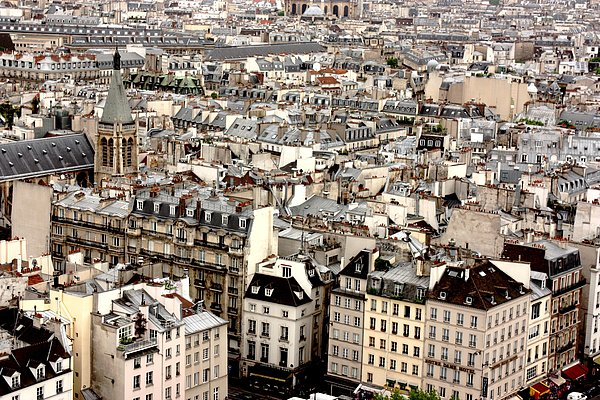Aerial View Of Paris Print by Landscape and urban landscape