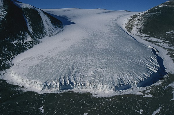 Aerial View Of Taylor Glacier Print by Maria Stenzel