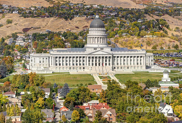 Aerial View Of Utah State Capitol Building Print by Gary Whitton