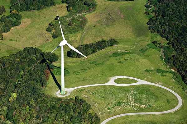 Aerial View Of Wind Turbine Print by Daniel Reiter