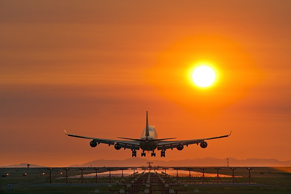 Aeroplane Landing At Sunset Print by David Nunuk