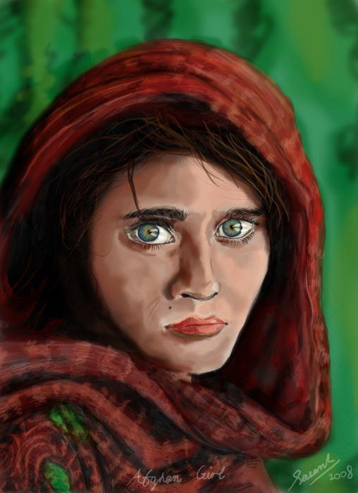 afghan girl mixed media