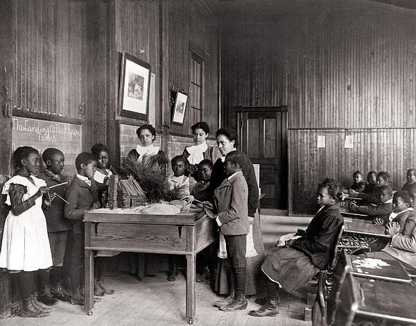 African American Children Learning Print by Everett