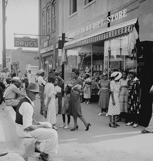 African Americans Shopping And Visiting Print by Everett
