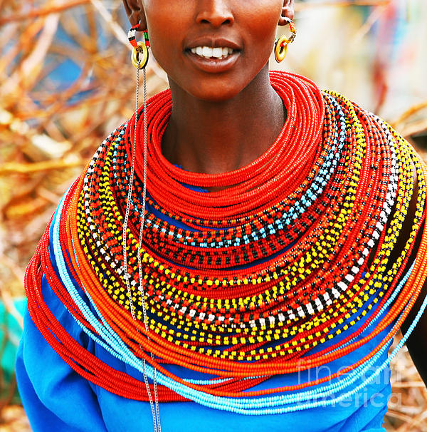African Woman With Traditional Accessories Print by Anna Omelchenko