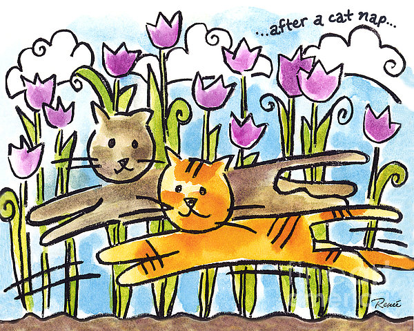 After A Cat Nap Print by Renee Womack