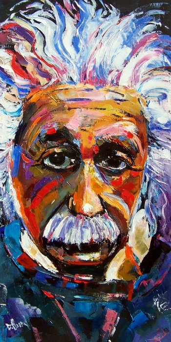 Albert Einstein Genius Print by Debra Hurd
