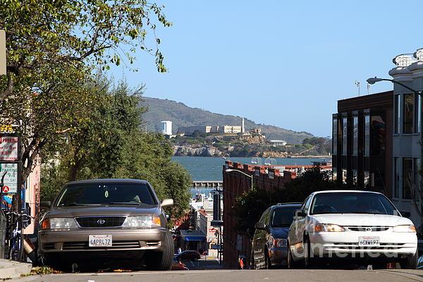 Alcatraz Island Through The Hyde Street Pier In San Francisco California . 7d13973 Print by Wingsdomain Art and Photography