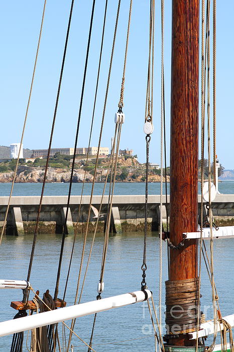 Alcatraz Island Through The Hyde Street Pier In San Francisco California . 7d14148 Print by Wingsdomain Art and Photography