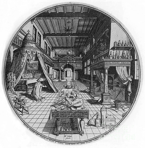 Alchemists Laboratory, 1595 Print by Science Source