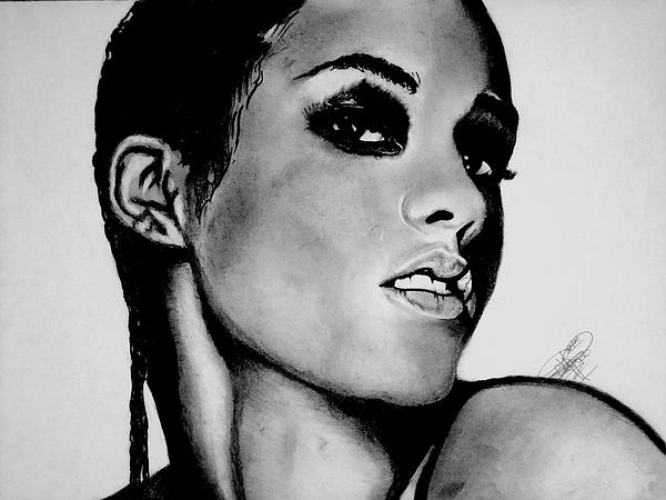 Alicia Keys Drawing Print by Keeyonardo