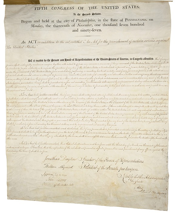 Alien And Sedition Acts Of 1798 Print by Everett