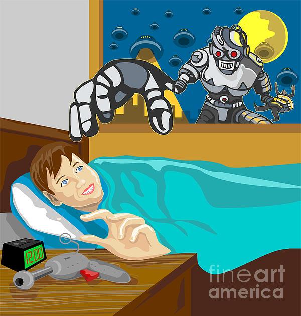 Alien Robot Snatching Kid Print by Aloysius Patrimonio