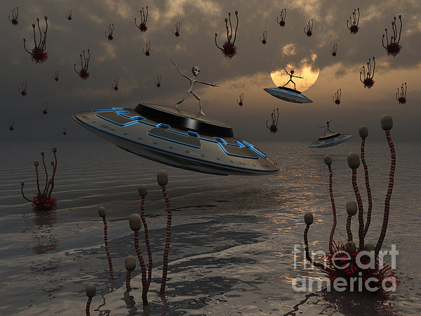 Aliens Celebrate Their Annual Harvest Print by Mark Stevenson