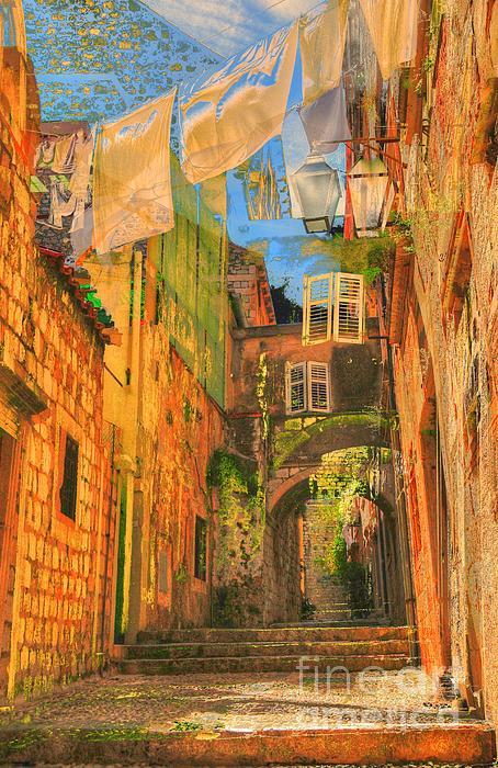 Alley In Croatia Print by Alberta Brown Buller