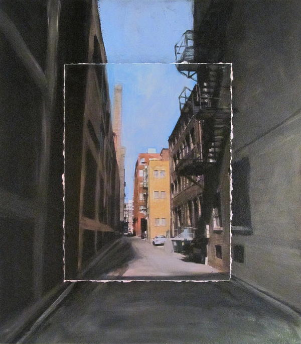 Alley With Red And Tan Buildings Layered Print by Anita Burgermeister