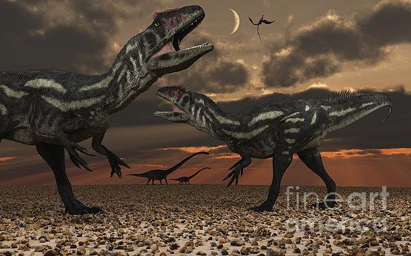 Allosaurus Dinosaurs Stalk Their Next Print by Mark Stevenson
