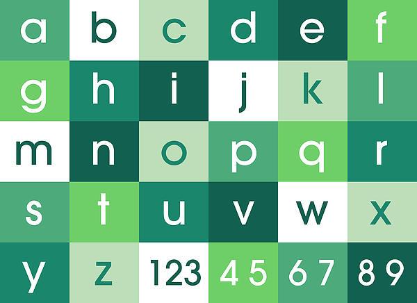Alphabet Green Print by Michael Tompsett